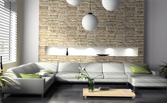 облицоване на стена с камък