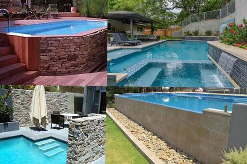 облицоване на басейн с камък