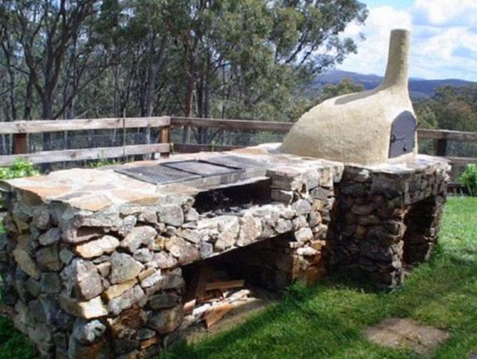 барбекю с естествен камък гнайс