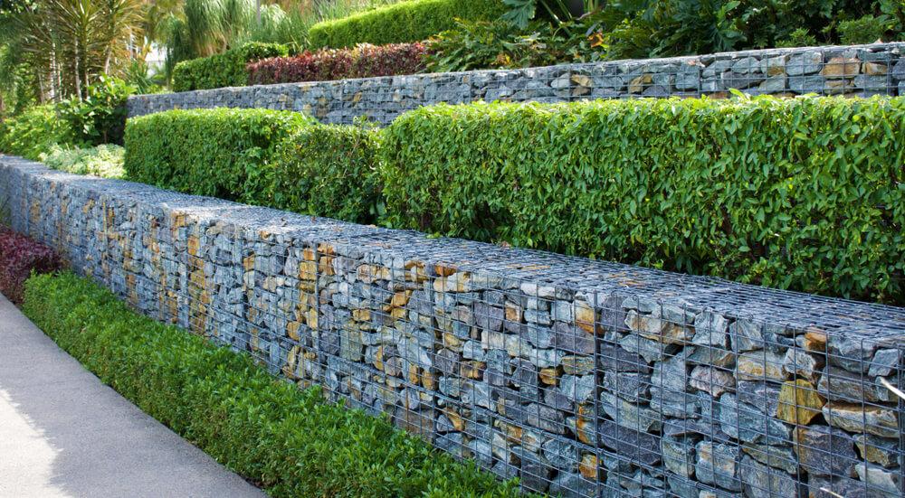 подпорна стена с габиони