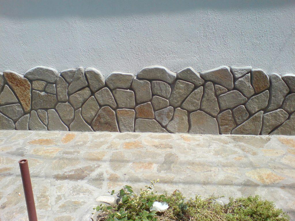 облицовка на фундамент на къща с гнайс