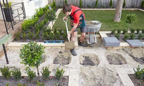 изграждане на настилка с камък
