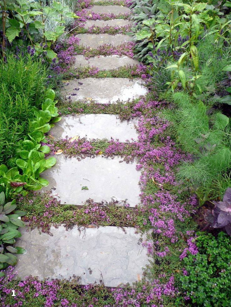 пътека с фуга от цветя
